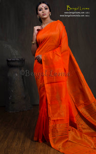 Pure Handloom Khadi Cotton Silk Saree with Gold Temple Border in Bright Orange - Bengal Looms India
