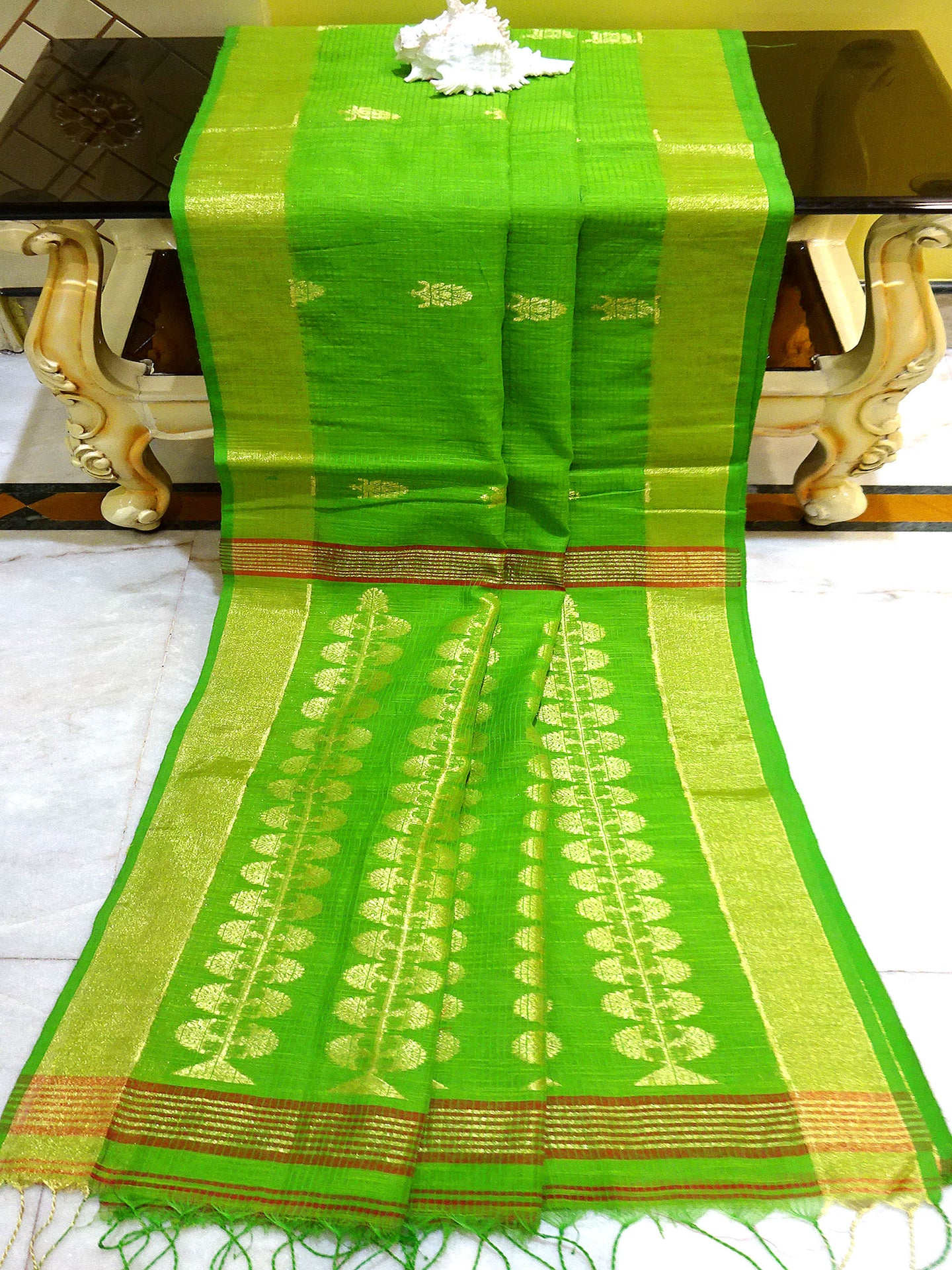 Khadi Cotton Silk Rich Gold Palllu Saree in Lime Green and Gold