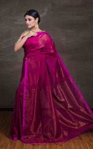 Handloom Khadi Cotton Silk Saree with Temple Border in Magenta and Gold from Bengal Looms India