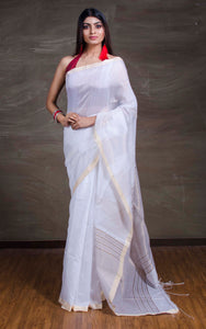 Handloom Khadi Cotton Silk Saree with Temple Border in White and Gold from Bengal Looms India