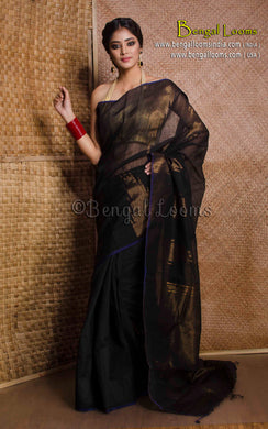 Handloom Khadi Cotton Silk Saree with Temple Border in Black and Gold - Bengal Looms India