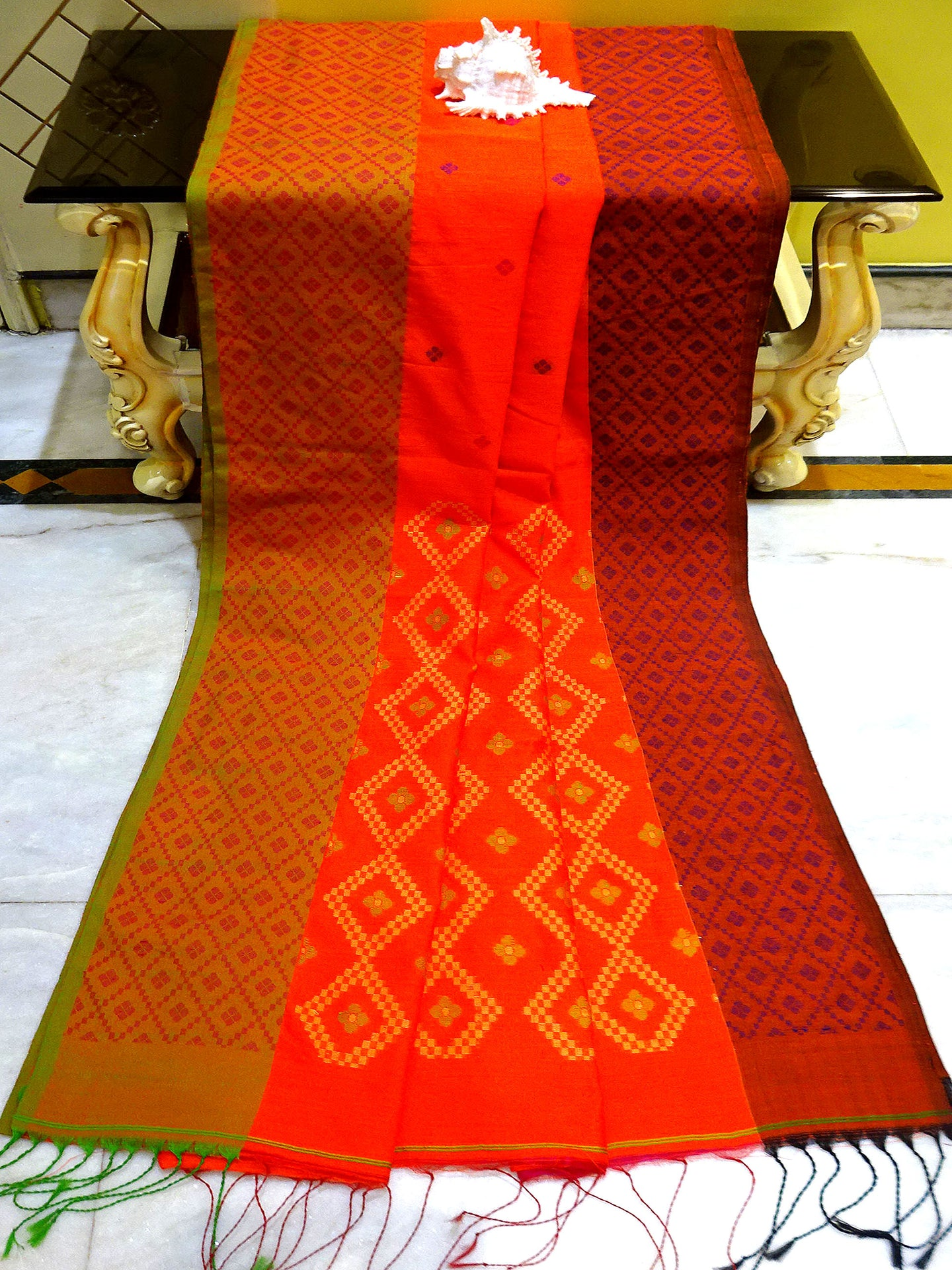 Blended Cotton Silk Saree in Orange, Green and Maroon - Bengal Looms India