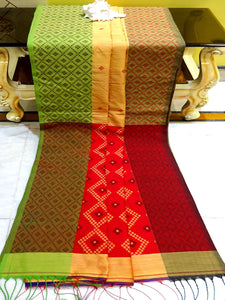 Blended Cotton Silk Saree in Biscuit, Green and Red from Bengal Looms India