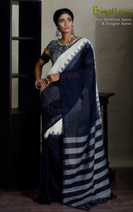 Khadi Soft Cotton Saree in Midnight Blue and Off White