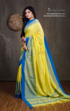 Brocade Skirt Border Soft Cotton Khadi Saree in Light Yellow and Sky Blue