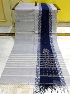Khadi Soft Pure Cotton Saree in Midnight blue from Bengal Looms India