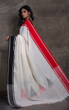 Premium Quality Double Warp Kadiyal Khadi Jamdani Saree in Off white, Black and Red