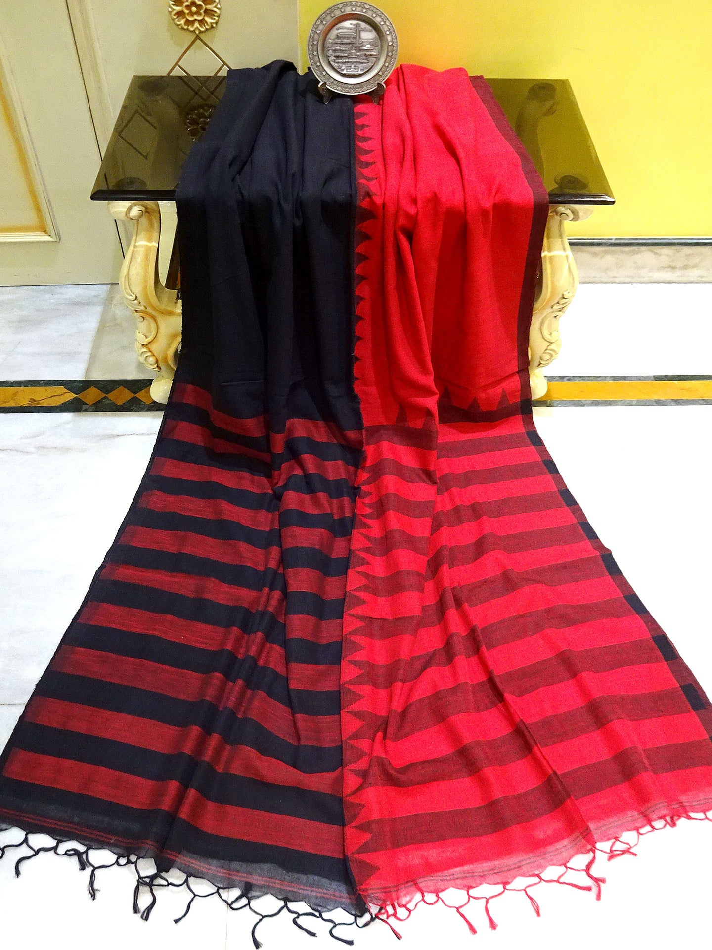 Khadi Soft Cotton Saree in Red and Black
