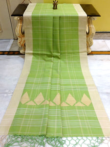Khadi Soft Cotton Saree in Light Olive Green and Khaki