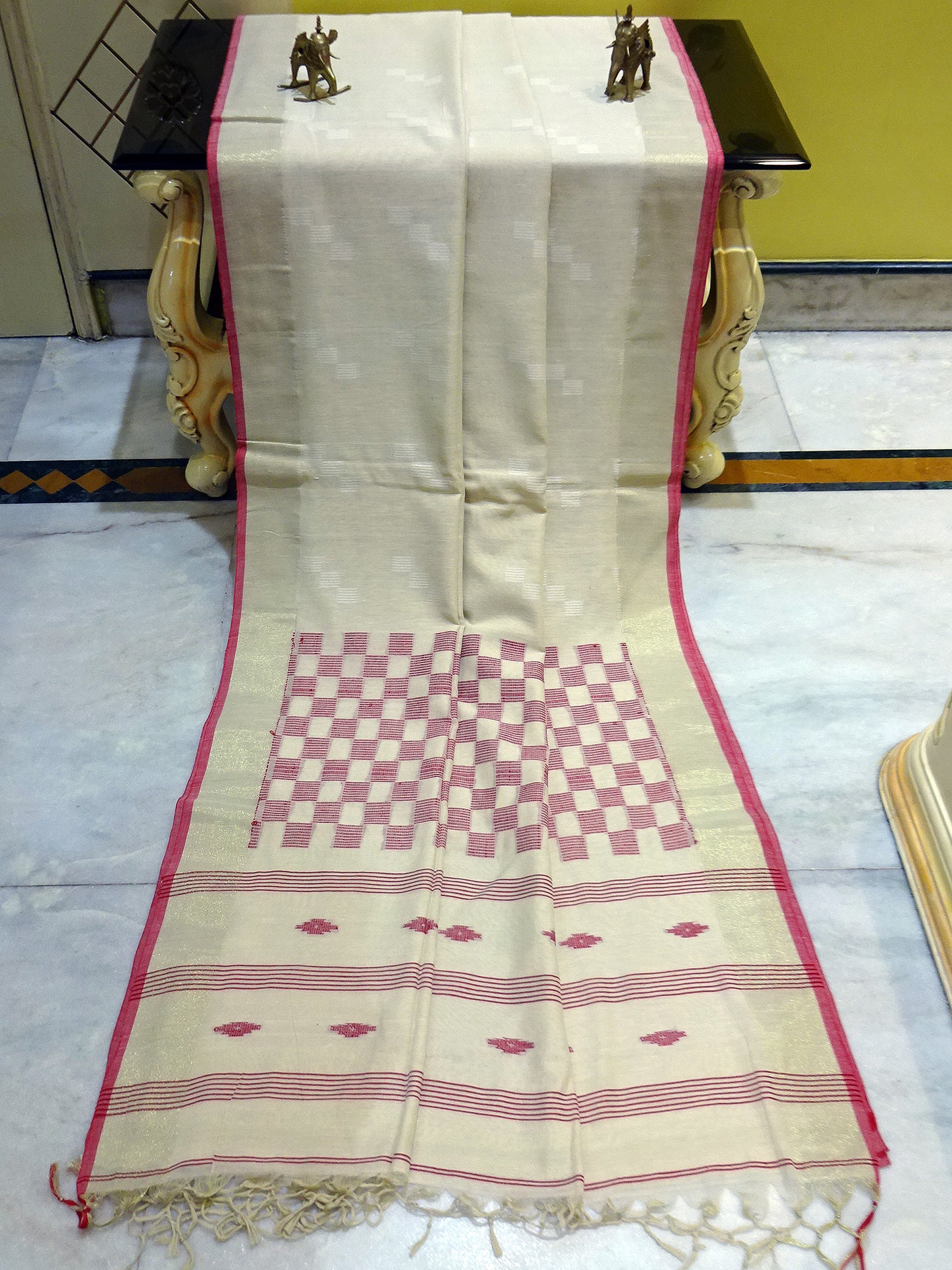 Khadi Soft Cotton Saree in Beige and Red
