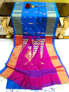 Blended Cotton Silk Jamdani Work Saree in Azure and Hot Pink from Bengal Looms India