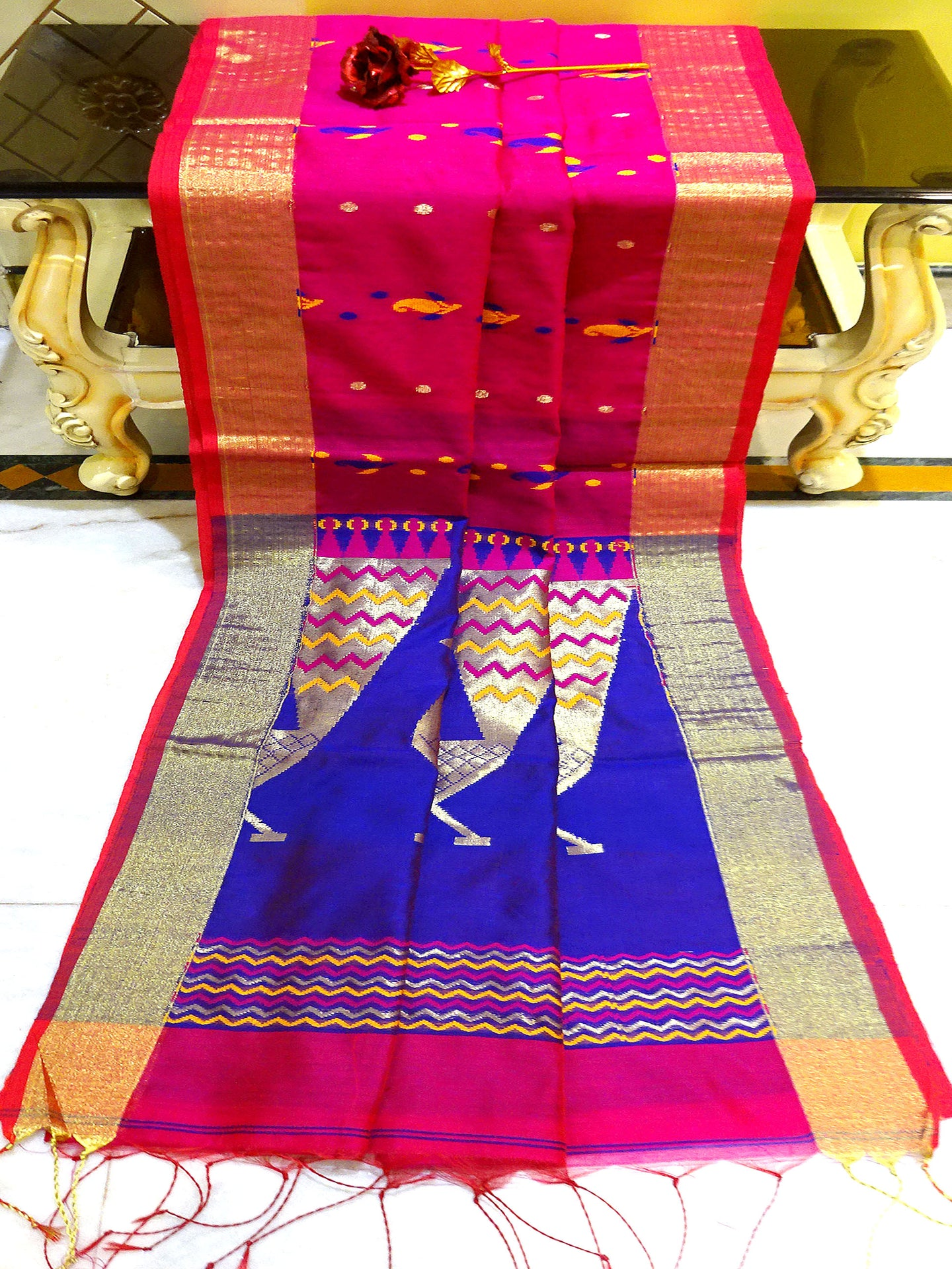 Blended Cotton Silk Jamdani Work Saree in Rani and Royal Blue from Bengal Looms India