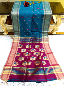 Blended Cotton Silk Jamdani Saree in Cerulean Blue and Magenta