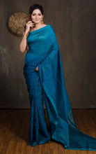 Cotton Silk Saree with Temple Border in Dark Blusih Green