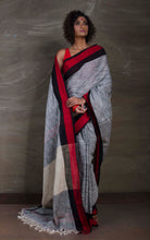 Khadi Soft Cotton Saree in Grey, Red and Black from Bengal Looms India