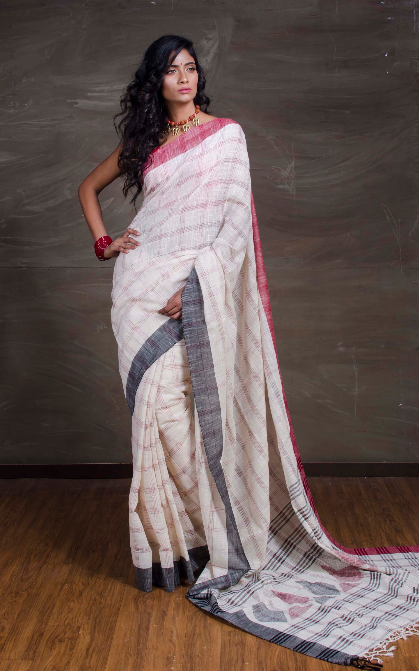 Khadi Soft Cotton Saree with Ganga Jamuna Border in Off White, Red and Black from Bengal Looms India