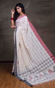 Khadi Soft Cotton Saree with Ganga Jamuna Border in Off White, Red and Black - Bengal Looms India