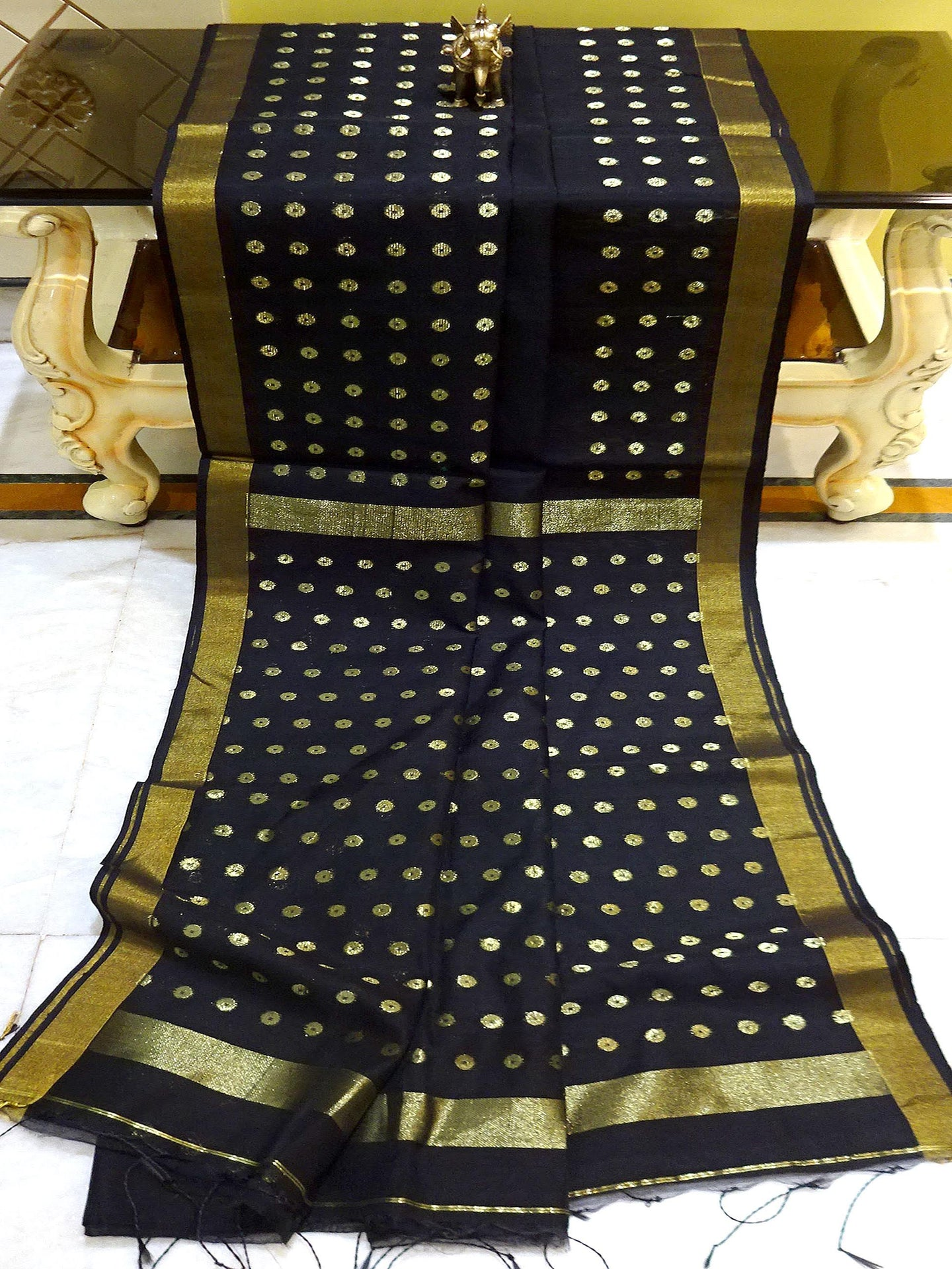 Blended Cotton Silk Saree in Black and Gold from Bengal Looms India