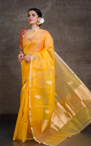 Pure Handloom Kora Silk Banarasi Saree in Sunflower Yellow, Silver and Gold