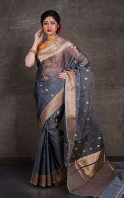 Pure Handloom Kora Silk Banarasi Saree in Metallic Grey, Silver and Antique Gold