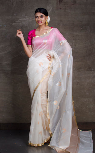 Pure Handloom Kora Silk Banarasi Saree in White, Silver and Gold