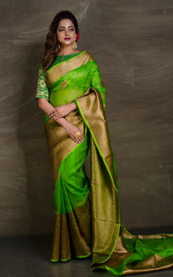 Pure Handloom Kora Silk Banarasi Saree in Parrot Green and Antique Gold from Bengal Looms India