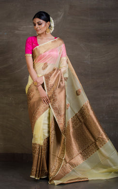 Pure Handloom Kora Silk Banarasi Saree in Butterscotch and Antique Gold from Bengal Looms India