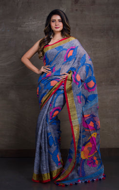 Exclusive Linen Jamdani Saree in Grey, Antique Gold, Red and Multicolored Thread Work