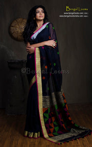 Linen Jamdani Saree with Gold and Silver Border in Black - Bengal Looms India