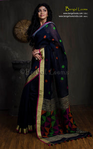 Linen Jamdani Saree with Gold and Silver Border in Black