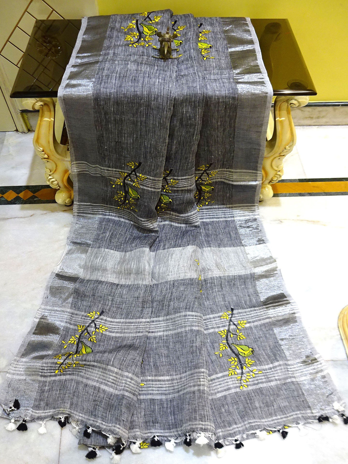 Pure Handloom Linen Embroidery Saree in Grey and Silver from Bengal Looms India