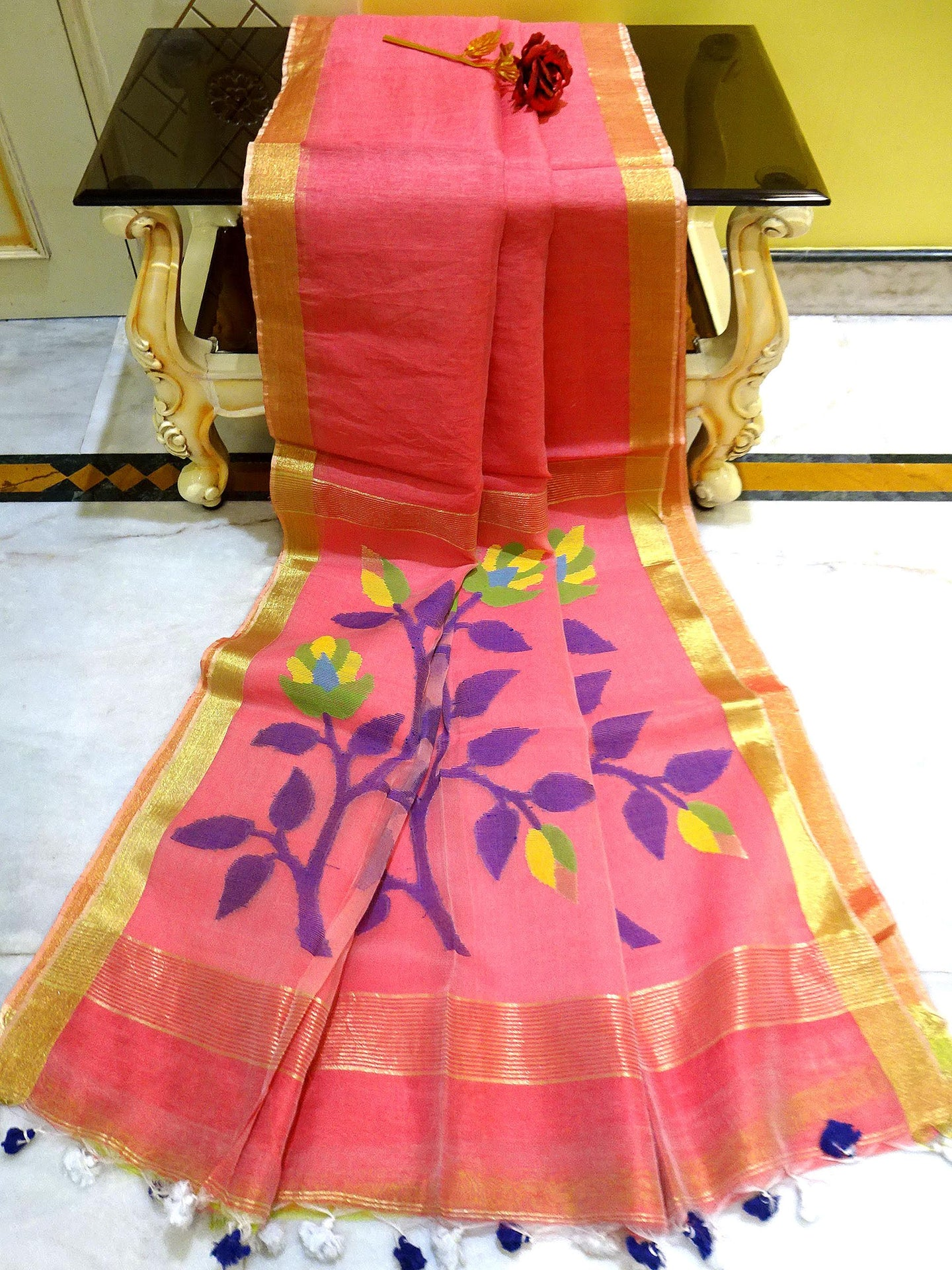 Pure Handloom Silk Linen Saree in Peach, Blue and Gold from Bengal Looms India