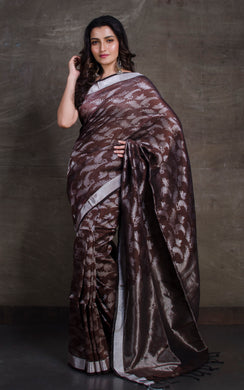 Designer Brocade Linen Saree in Dark Brown and Silver