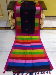 Handloom Rainbow Linen Jamdani Saree in Black