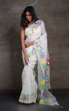 Exclusive Silk Linen Jamdani Saree in White and Multicolored Thread Work