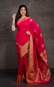 Cotton Linen Banarasi Saree in Hot Pink and Gold