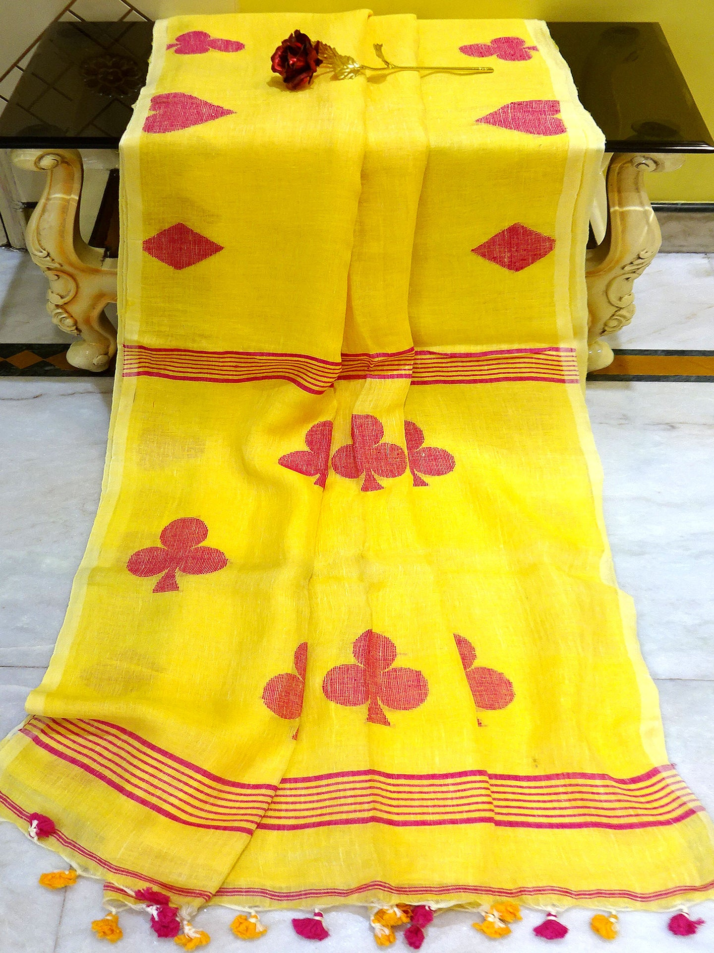 Linen Saree in Yellow and Rani - Bengal Looms India