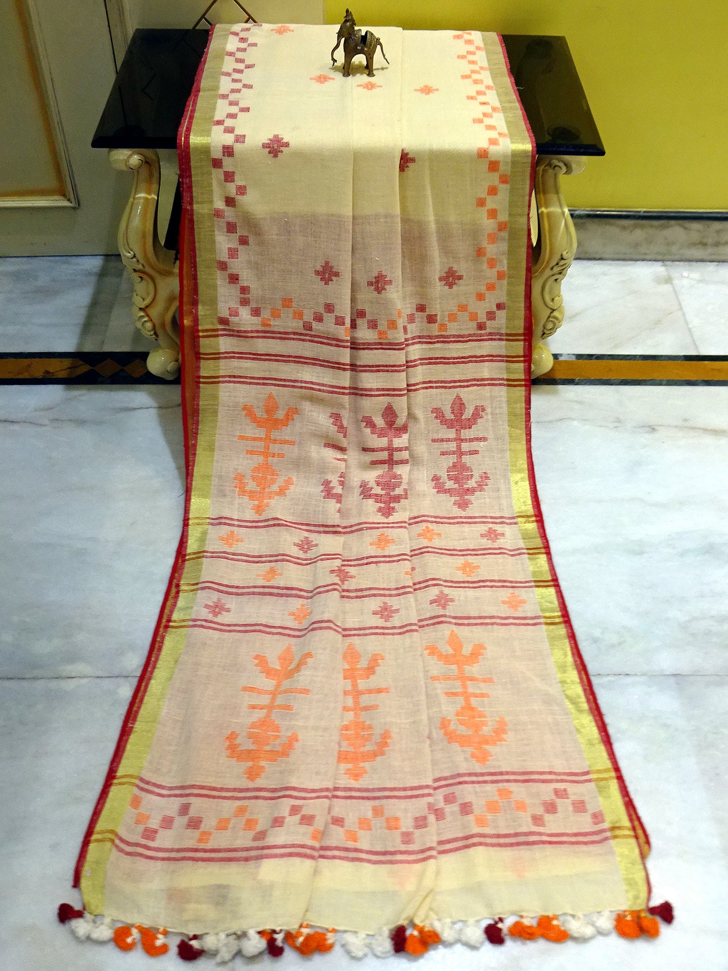 Cotton Linen Jamdani Saree in Beige, Orange and Dark Red