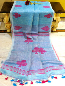 Linen Saree in Denim Blue And Rani - Bengal Looms India