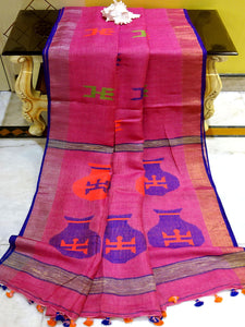 Pure Handloom Linen Jamdani Saree in Fandango Pink and Royal Blue - Bengal Looms India