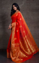 Cotton Linen Banarasi Saree in Fire Orange and Gold