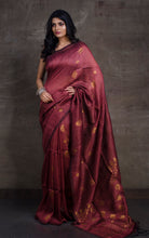 Cotton Linen Banarsi Saree in Red Sandalwood and Antique Gold