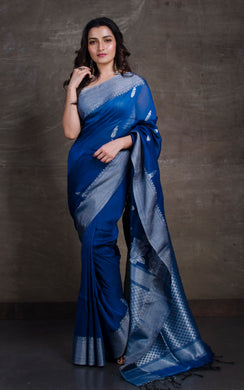 Cotton Linen Banarasi Saree in Peacock Blue and Silver