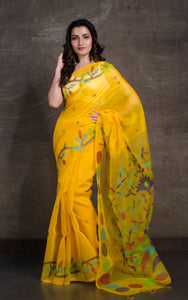 Exclusive Silk Linen Jamdani Saree in Yellow and Multicolored Thread Work