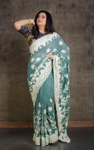 Lucknow Chikankari Work Designer Saree in Sage Green and White