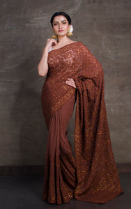 Lucknow Chikankari Work Designer Zardosi Saree in Cadbury Chocolate Brown