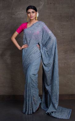 Lucknow Chikankari Work Designer Zardosi Saree in Blue Heather Grey