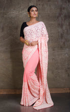 Lucknow Chikankari Work Designer Zardosi Saree in Rose Pink and White