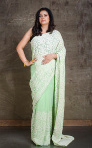 Lucknow Chikankari Work Designer Zardosi Saree in Mint Green and White