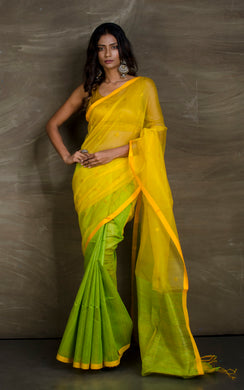 Half Tussar Silk and Half Muslin Saree in Yellow and Green - Bengal Looms India